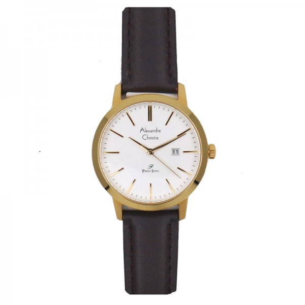 Alexandre Christie AC 1007 Gold White Leather Lady LDLGPSL