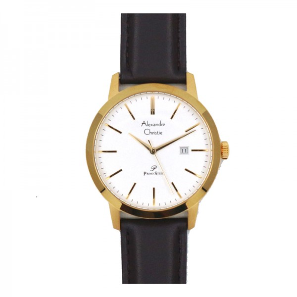 Alexandre Christie AC 1007 Gold White Leather Man MDLGPSL