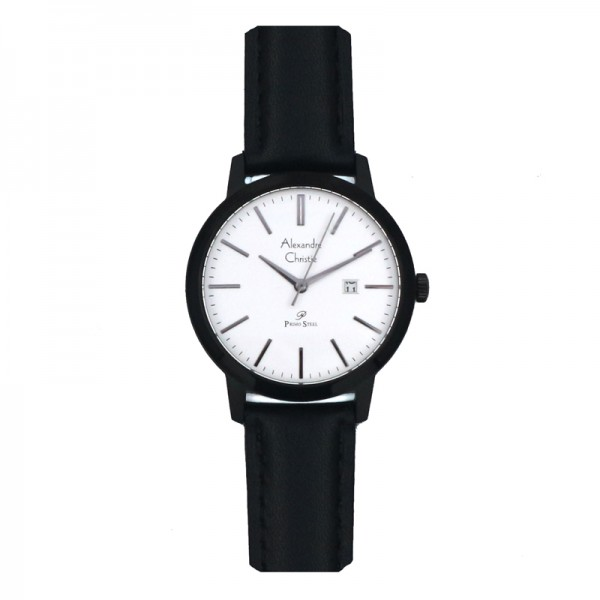 Alexandre Christie AC 1007 Black White Leather Lady LDLIGSL