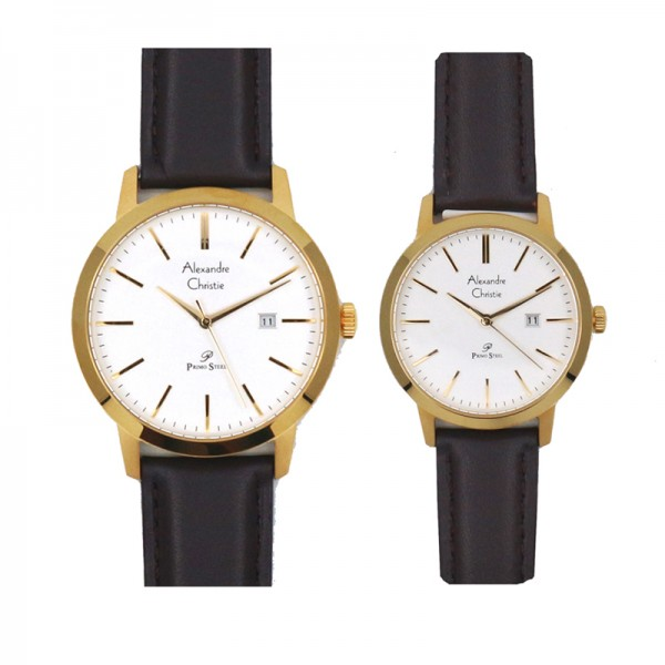 Alexandre Christie AC 1007 Gold White Leather Couple