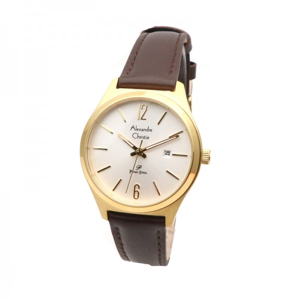 Alexandre Christie AC 1009 Gold Brown Leather Lady LDLGPSL