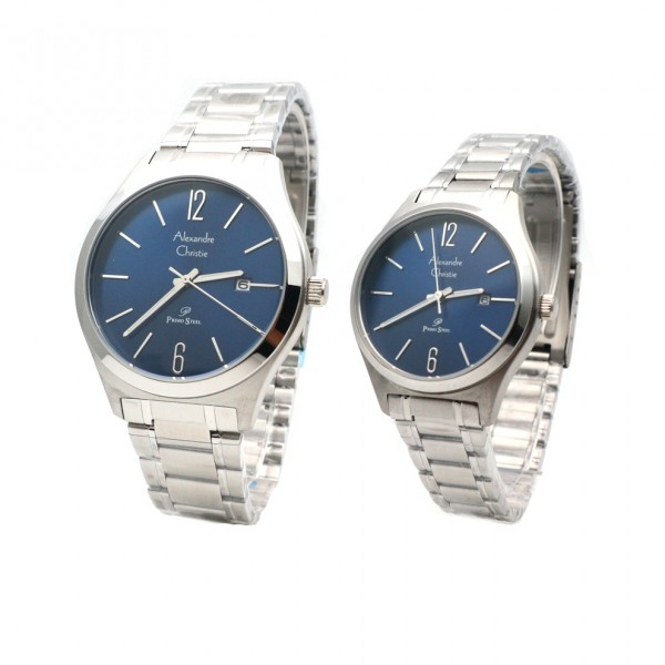 Alexandre Christie AC 1009 Silver Blue Rantai Couple