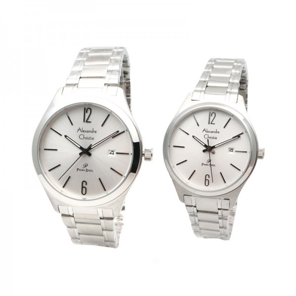 Alexandre Christie AC 1009 Silver White Rantai Couple