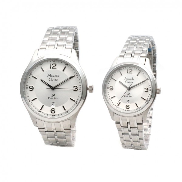 Alexandre Christie AC 1010 Silver White Couple