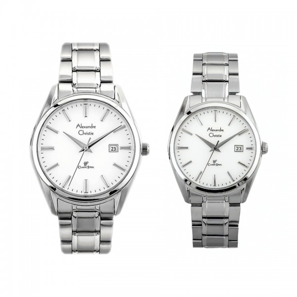 Alexandre Christie AC 8554 Silver White Couple