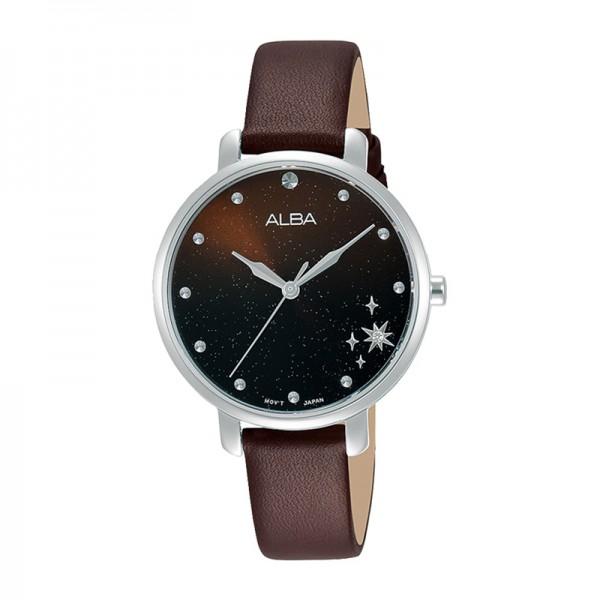 Alba AH8701X1 AH8701 Silver Brown Leather Lady