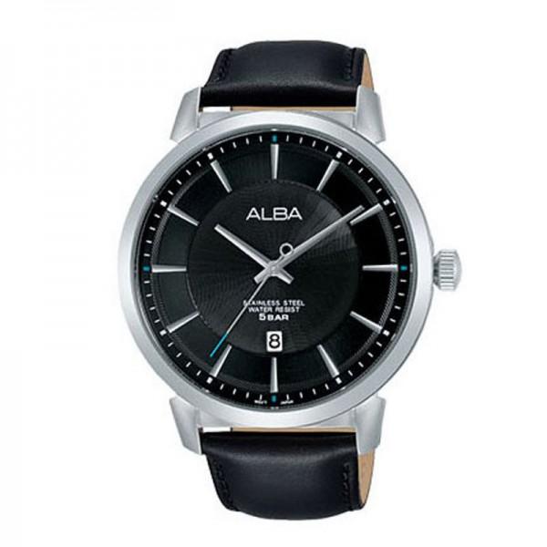 Alba AS9E69X1 AS9E69 Silver Black Man Leather