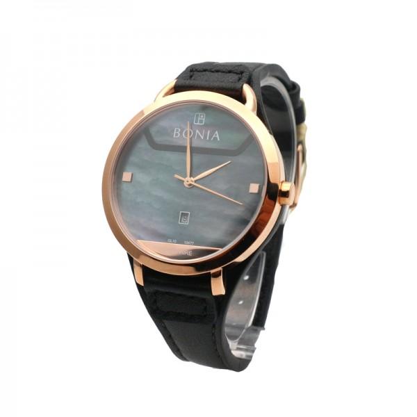 Bonia BNB10477-3536 Rosegold Black Leather