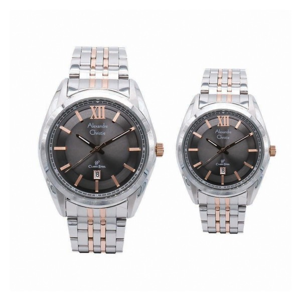 Alexandre Christie AC 8501 Silver Rosegold Black Couple