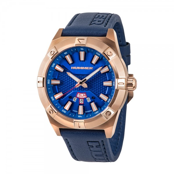 Hummer HM1002-1582 Rosegold Steel Blue Leather
